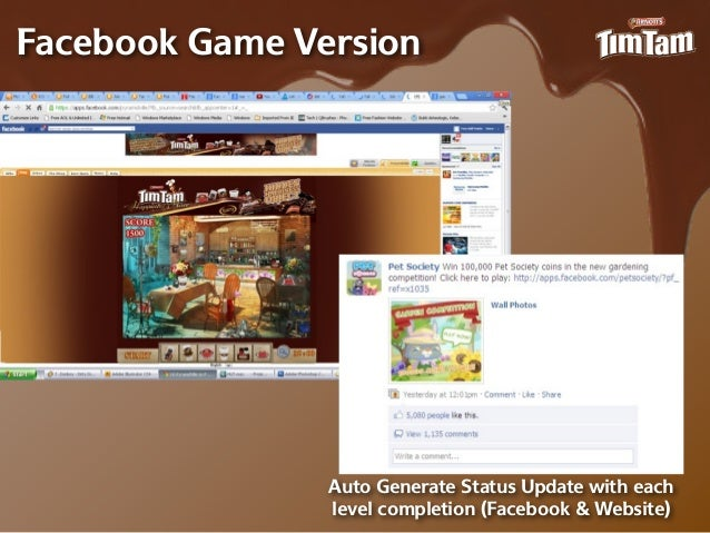 Facebook Game Version                Auto Generate Status Update with each                level completion (Facebook & Web...