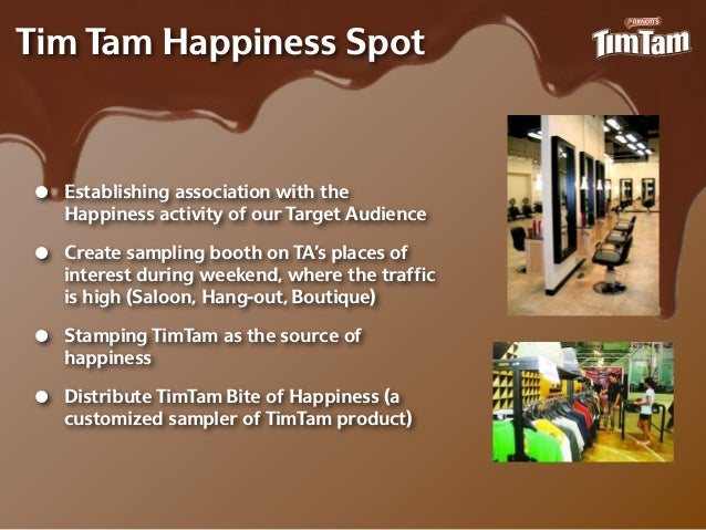 Tim Tam Happiness Spot•   Establishing association with the    Happiness activity of our Target Audience•   Create samplin...