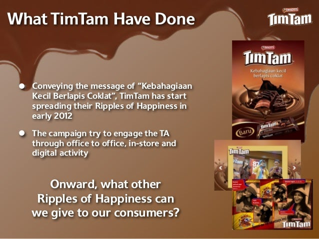 """What TimTam Have Done •   Conveying the message of """"Kebahagiaan     Kecil Berlapis Coklat"""", TimTam has start     spreading..."""