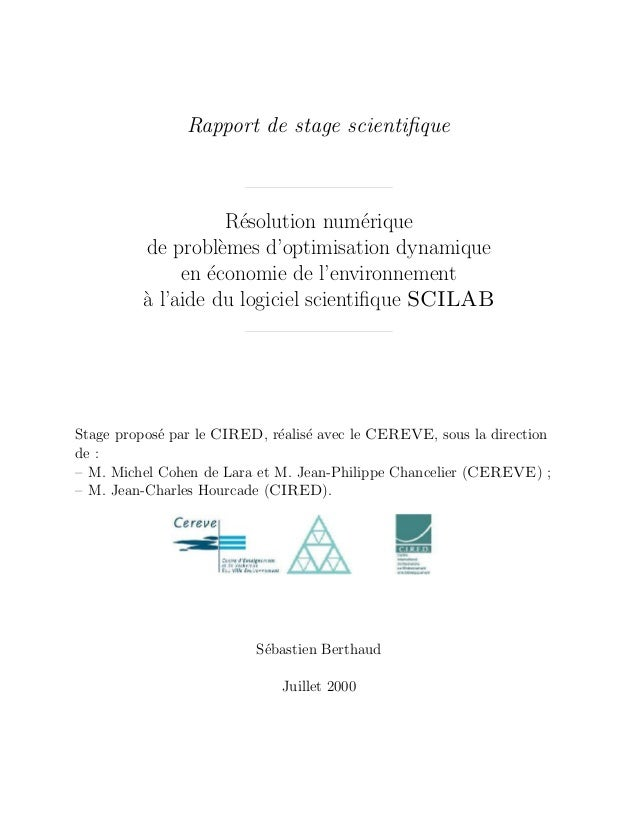 Rapport de stage scientifique                    R´solution num´rique                     e               e         de prob...