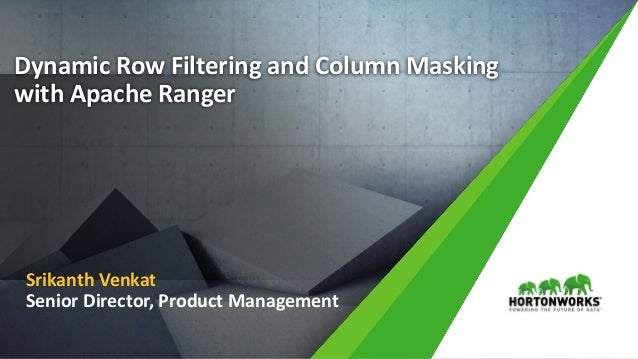 1 © Hortonworks Inc. 2011 – 2016. All Rights Reserved Dynamic Row Filtering and Column Masking with Apache Ranger Srikanth...