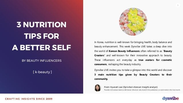 111 3 NUTRITION TIPS FOR A BETTER SELF BY BEAUTY INFLUENCERS [ k-beauty ] In Korea, nutrition is well-known for bringing h...