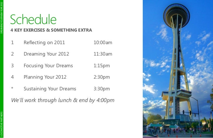 DREAMING YOUR NEW YEAR 2012                              Schedule                              4 KEY EXERCISES & SOMETHING...