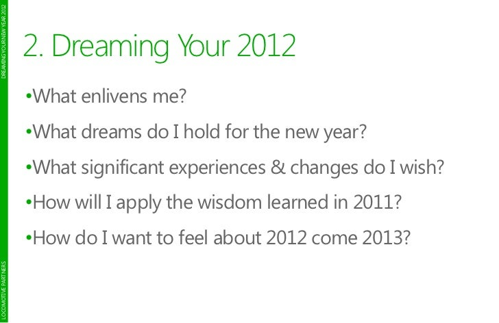 DREAMING YOUR NEW YEAR 2012                              2. Dreaming Your 2012                              •What enlivens...