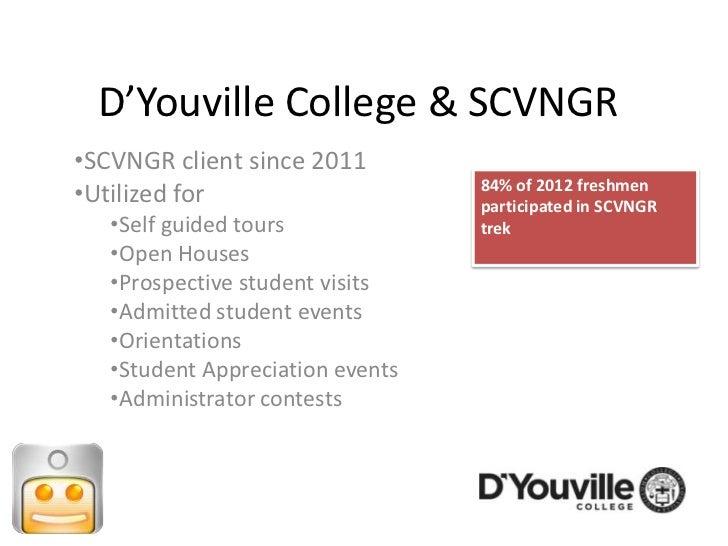 D'Youville College & SCVNGR•SCVNGR client since 2011                                  84% of 2012 freshmen•Utilized for   ...