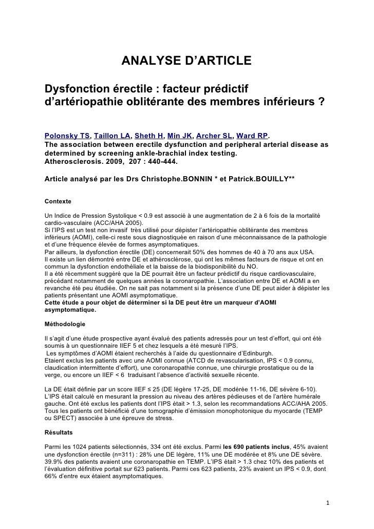 ANALYSE D'ARTICLE  Dysfonction érectile : facteur prédictif d'artériopathie oblitérante des membres inférieurs ?  Polonsky...