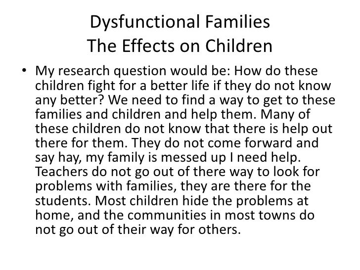 the effects of dysfunctional families