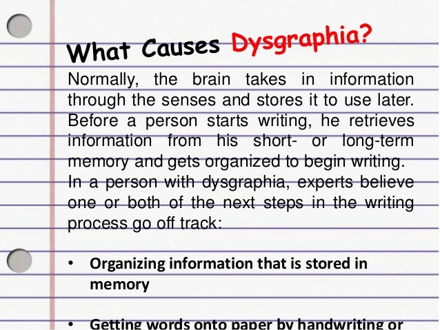 Writing disorder dysgraphia