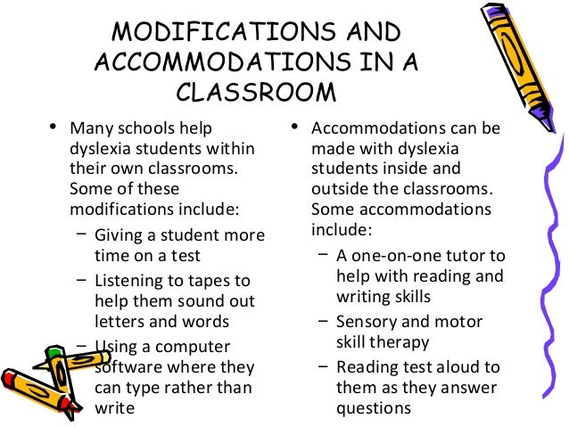 Writing accommodations for dyslexia
