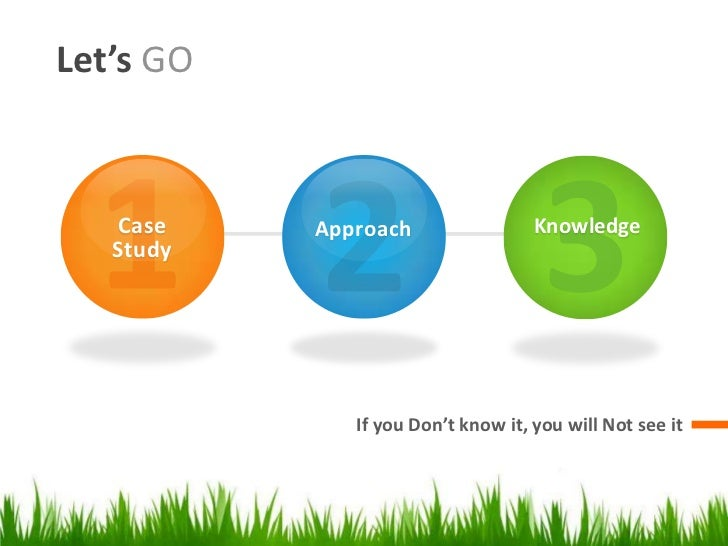 Let's GO   Case    Approach                 Knowledge   Study              If you Don't know it, you will Not see it