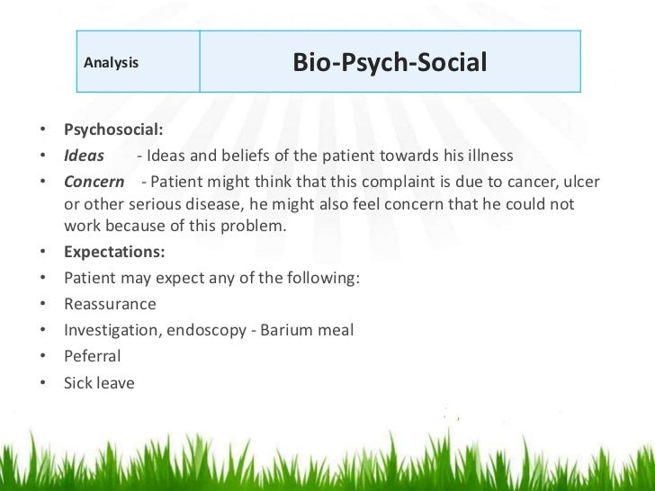 Analysis                    Bio-Psych-Social• Psychosocial:• Ideas      - Ideas and beliefs of the patient towards his ill...
