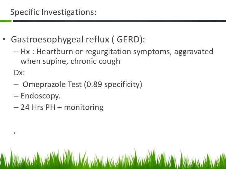 Specific investigations  Gastric Cancer:      – Hx .Older (>50),unexplained wt. loss, dysphagia,        smoker       Dx : ...
