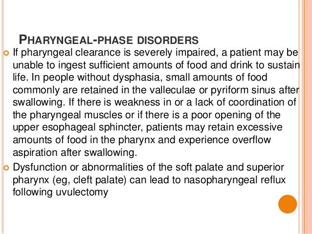 dysphagia pharyngeal phase clearance impaired leading disorders food