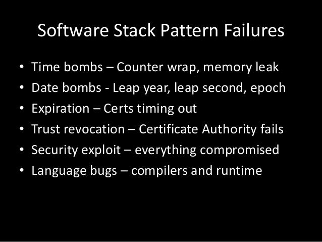 Application Pattern Failures• Content bombs – Data dependent failure• Configuration – wrong/bad syntax• Versioning – incom...