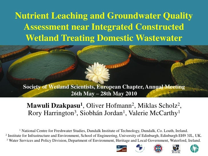 Nutrient Leaching and Groundwater Quality       Assessment near Integrated Constructed        Wetland Treating Domestic Wa...