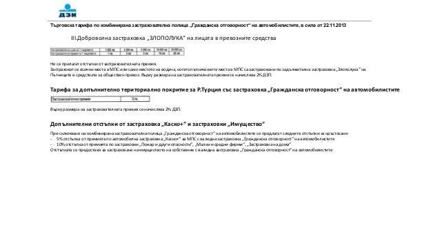 """Търговска тарифа по комбинирана застрахователна полица """"Гражданска отговорност"""" на автомобилистите, в сила от 22.11.2013  ..."""
