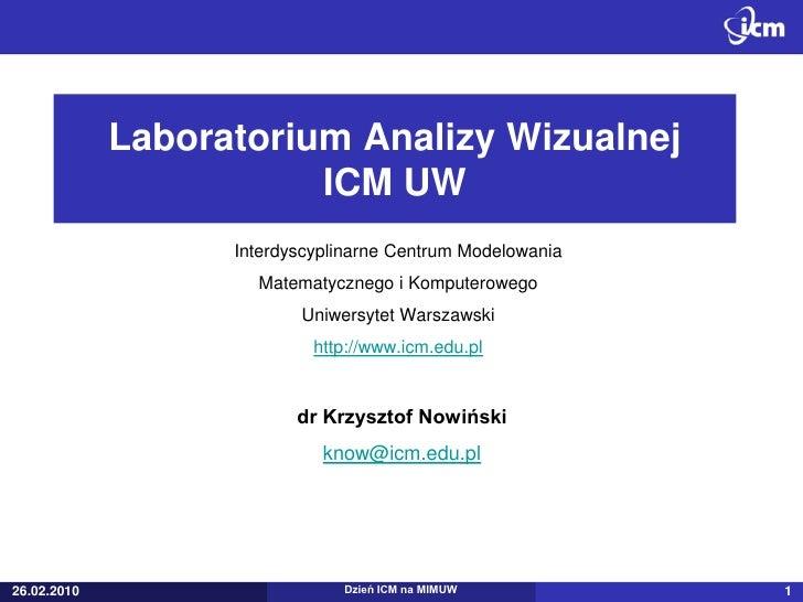 Laboratorium Analizy Wizualnej                         ICM UW                    Interdyscyplinarne Centrum Modelowania   ...