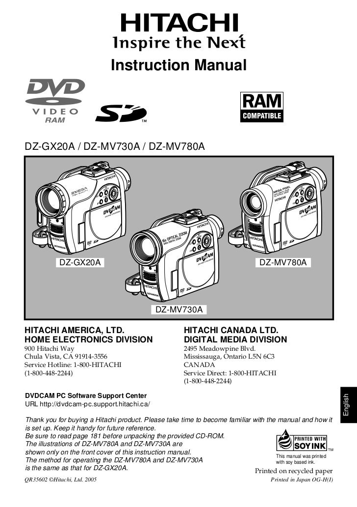 Instruction ManualDZ-GX20A / DZ-MV730A / DZ-MV780A                                        DISC N                          ...