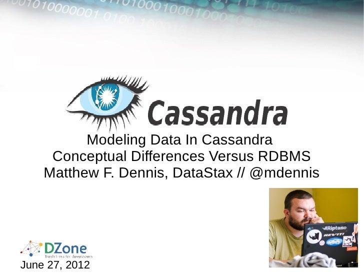Modeling Data In Cassandra     Conceptual Differences Versus RDBMS    Matthew F. Dennis, DataStax // @mdennisJune 27, 2012