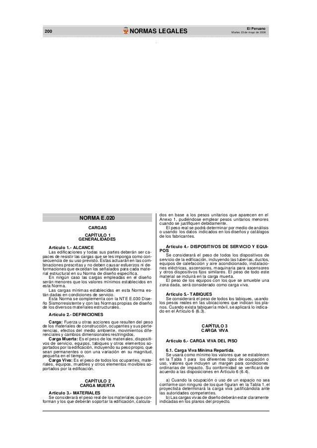 200 NORMAS LEGALESEl PeruanoMartes 23 de mayo de 2006NORMA E.020CARGASCAPÍTULO 1GENERALIDADESArtículo 1.- ALCANCELas edifi...