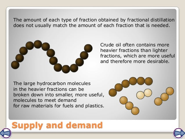 Supply and demand The amount of each type of fraction obtained by fractional distillation does not usually match the amoun...