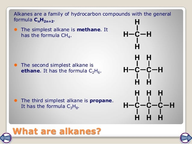 What are alkanes? Alkanes are a family of hydrocarbon compounds with the general formula CnH2n+2.  The simplest alkane is...