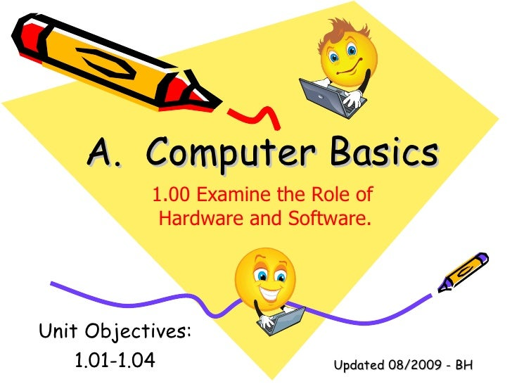 A.  Computer Basics Unit Objectives: 1.01-1.04 1.00 Examine the Role of  Hardware and Software. Updated 08/2009 - BH