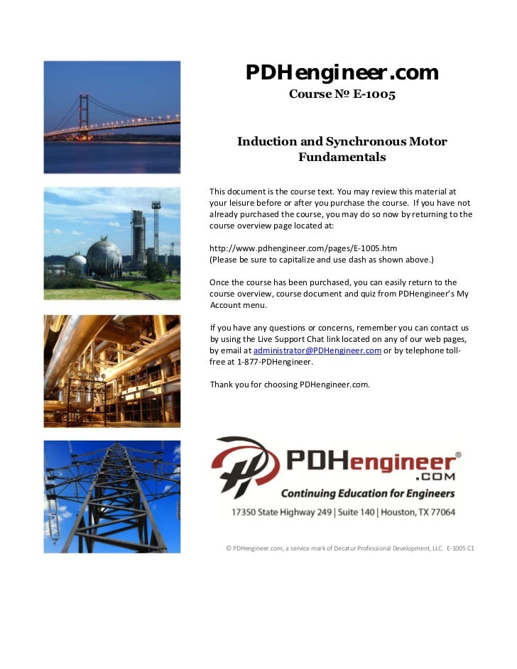 PDHengineer.com                         Course № E-1005       Induction and Synchronous Motor                Fundamentals ...