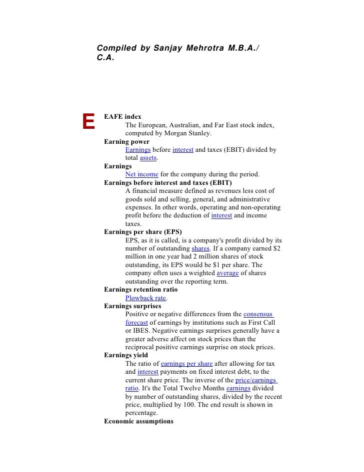 Compiled by Sanjay Mehrotra M.B.A./     C.A.          EAFE index E          The European, Australian, and Far East stock i...
