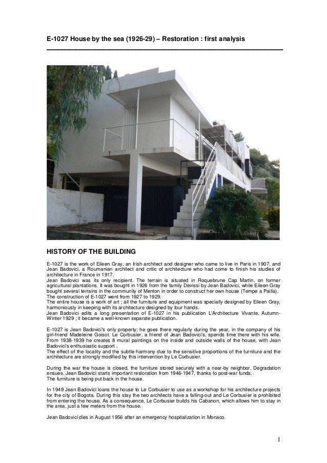 1 E-1027 House by the sea (1926-29) – Restoration : first analysis _______________________________________________________...