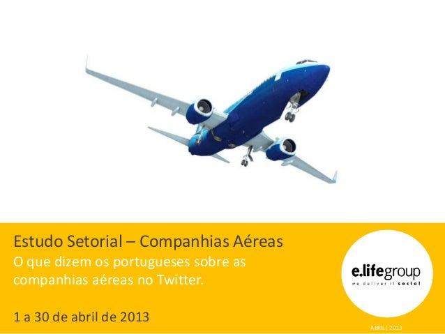 Estudo Setorial – Companhias Aéreas O que dizem os portugueses sobre as companhias aéreas no Twitter. 1 a 30 de abril de 2...