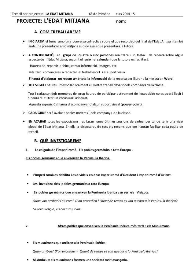 Treball per projectes: LA EDAT MITJANA 6è de Primària curs 2014-15 PROJECTE: L'EDAT MITJANA nom: A. COM TREBALLAREM?  INI...