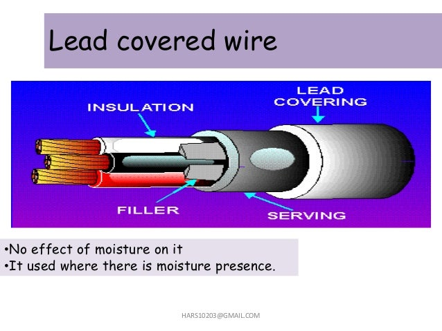 Lead covered wire HARS10203@GMAIL.COM •No effect of moisture on it •It used where there is moisture presence.