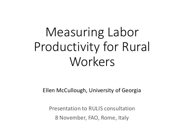 Measuring Labor Productivity for Rural Workers Ellen McCullough, University of Georgia Presentation to RULIS consultation ...