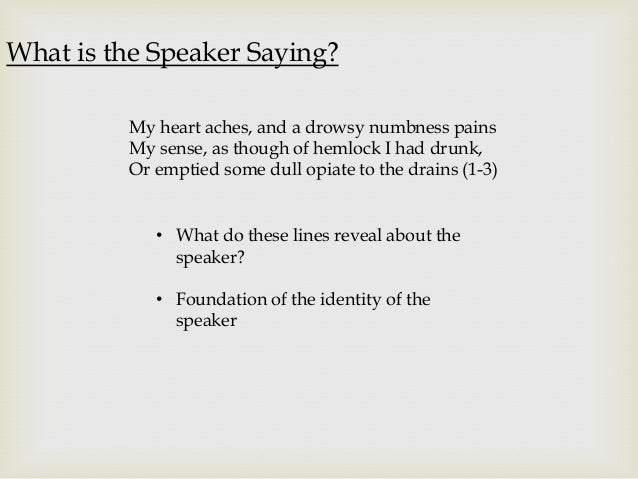 an analysis of the symbols used by john keats in ode to a nightingale poem In my research and analysis on ode to a nightingale, i seem to find  the bird is  a symbol for a sort of high poetry that the speaker aspires to.