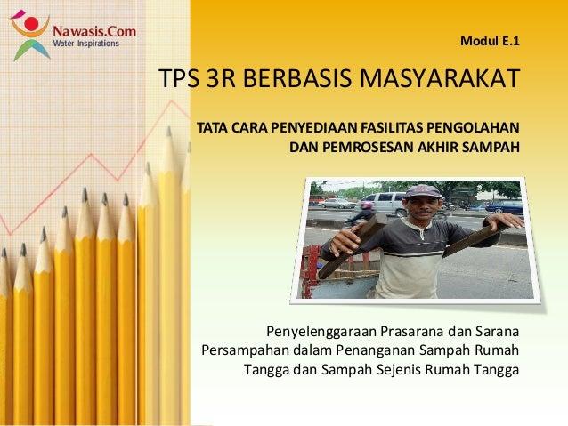 TPS 3R BERBASIS MASYARAKAT Penyelenggaraan Prasarana dan Sarana Persampahan dalam Penanganan Sampah Rumah Tangga dan Sampa...