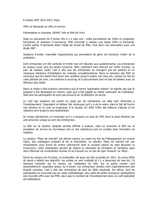 E-Achats 360° 2012-2013. Paris.Offre et Demande en offre et service.Présentation et résultats, DEMAT Info et IMA De Vinci....