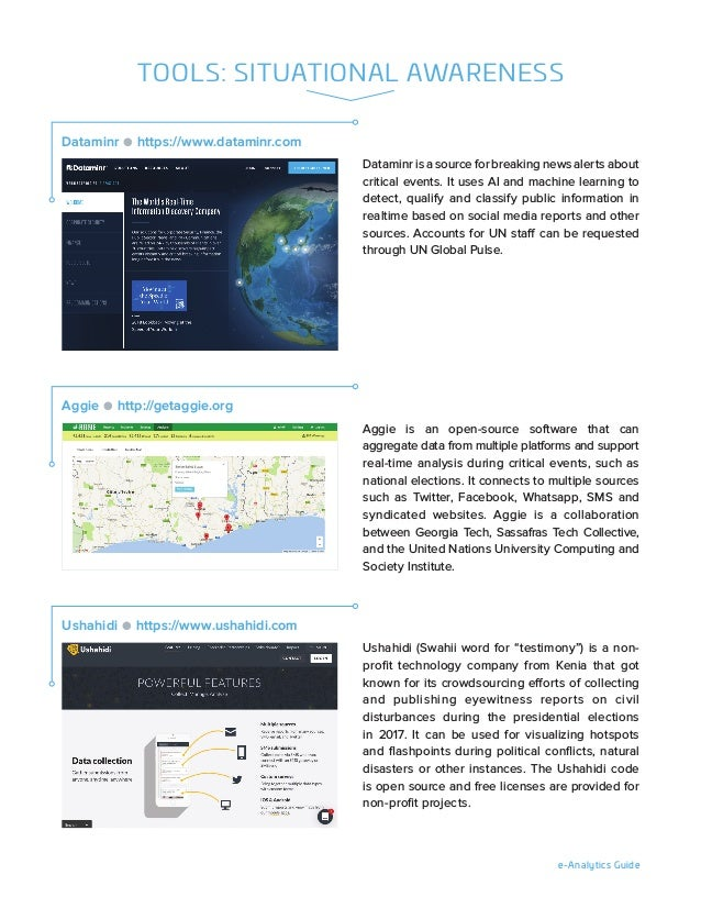 e-Analytics Guide Dataminr is a source for breaking news alerts about critical events. It uses AI and machine learning to ...