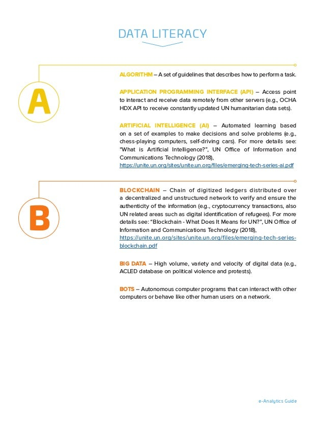 e-Analytics Guide DATA LITERACY ALGORITHM – A set of guidelines that describes how to perform a task. APPLICATION PROGRAMM...