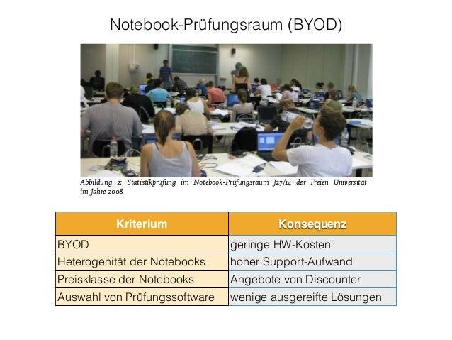 "Notebook-Prüfungsraum (BYOD) Das Projekt ""FU E-Examinations"" 2007–2010 Prüfungen in Notebook-Prüfungsräumen und PC-Pools A..."