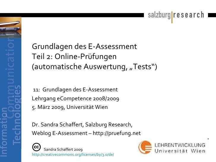 """Grundlagen des E-Assessment Teil 2: Online-Prüfungen  (automatische Auswertung, """"Tests"""")   11:  Grundlagen des E-Assessmen..."""