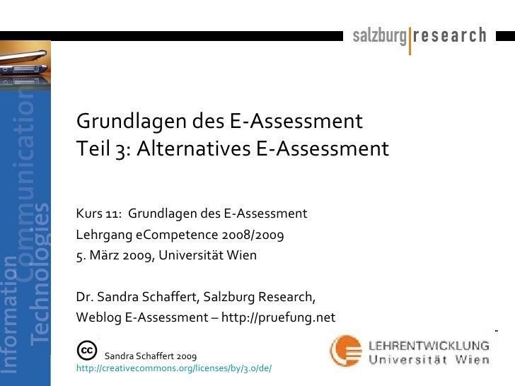 Grundlagen des E-Assessment Teil 3: Alternatives E-Assessment   Kurs 11:  Grundlagen des E-Assessment Lehrgang eCompetence...