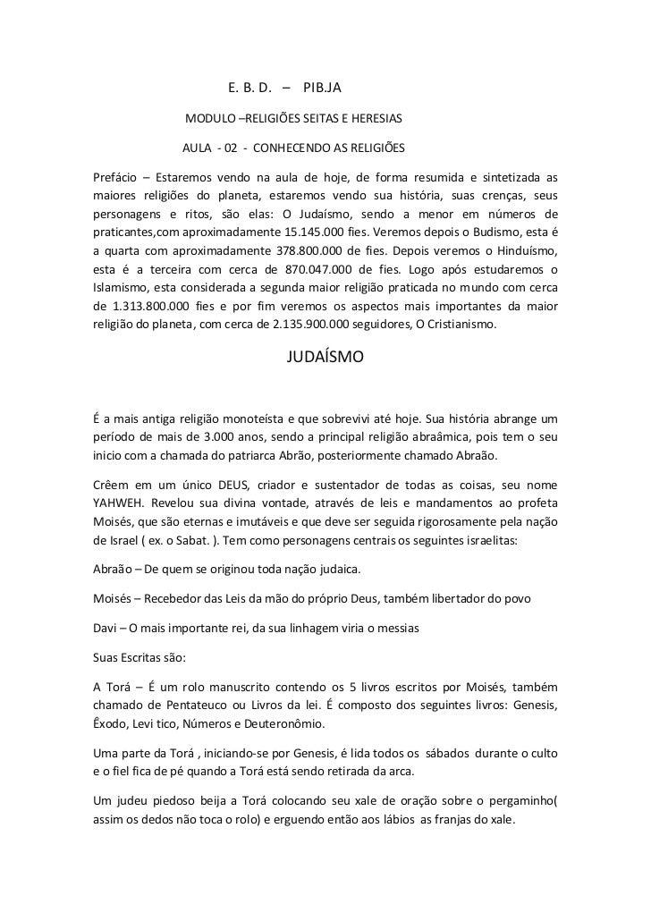 E. B. D. – PIB.JA                 MODULO –RELIGIÕES SEITAS E HERESIAS                 AULA - 02 - CONHECENDO AS RELIGIÕESP...