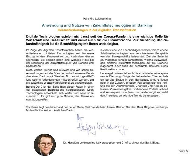 Seite 3 Hansjörg Leichsenring Anwendung und Nutzen von Zukunftstechnologien im Banking Herausforderungen in der digitalen ...