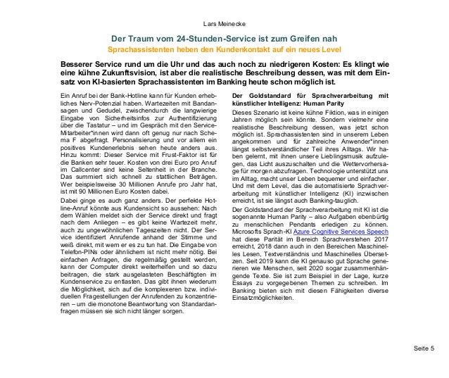 Seite 5 Lars Meinecke Der Traum vom 24-Stunden-Service ist zum Greifen nah Sprachassistenten heben den Kundenkontakt auf e...