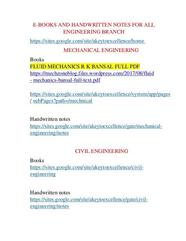 E books and handwritten notes for all engineering branch