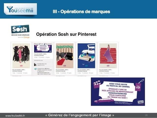 III - Opérations de marques                   Opération Sosh sur Pinterestwww.YouSeeMii.fr       « Générez de l'engagement...