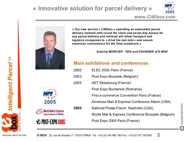 E-BOX présentation National postal Forum Nashville 2005 Slide 2