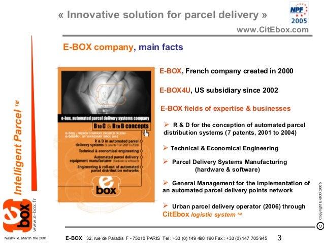 E-BOX présentation National postal Forum Nashville 2005 Slide 3