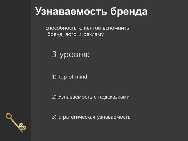 Узнаваемость бренда способность клиентов вспомнить бренд, лого и рекламу 3 уровня: 1) Top of mind 2) Узнаваемость с подска...